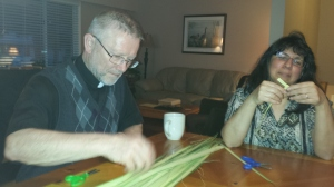 Making palm crosses after our Lenten Bible Study